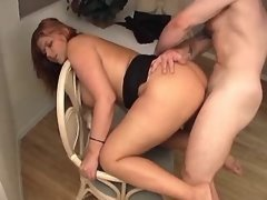 Lustful fatty gets jizz on big tits