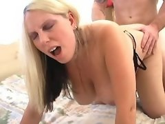 Fat busty blonde gets fucked on bed
