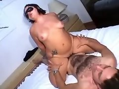 Fatty in mask crazy jumps on dick