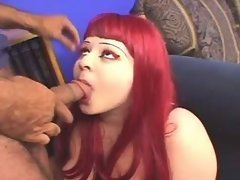 Redhead fatty sucks appetizing cock