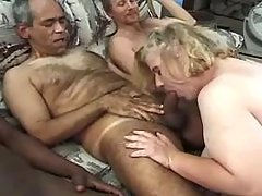 Fat whore sucks and licked in orgy