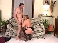 Chubby mature throats strong cock